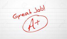 10025824-good-work-paper-grading-in-red-ink-stock-vector